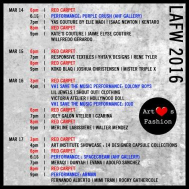 art heart fashion week schedule 2016 march