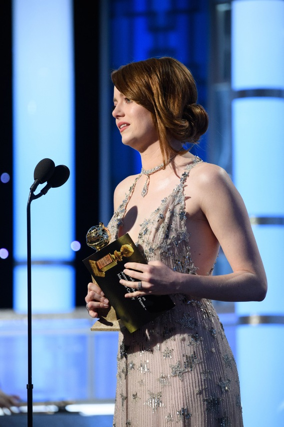 "Emma Stone accepts the Golden Globe Award for BEST PERFORMANCE BY AN ACTRESS IN A MOTION PICTURE – COMEDY OR MUSICAL for her role in ""La La Land"" at the 74th Annual Golden Globe Awards at the Beverly Hilton in Beverly Hills, CA on Sunday, January 8, 2017."