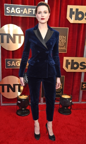 Evan Rachel Wood Altuzarra suit, Salvatore Ferragamo heels, Judith Leiber clutch, and Tiffany & Co. jewels