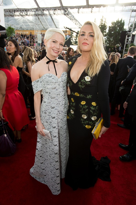 "Nominated for BEST PERFORMANCE BY AN ACTRESS IN A SUPPORTING ROLE IN A MOTION PICTURE for her role in ""Manchester by the Sea,"" actress Michelle Williams and Busy Philipps attend the 74th Annual Golden Globes Awards at the Beverly Hilton in Beverly Hills, CA on Sunday, January 8, 2017."