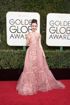 "Nominated for BEST PERFORMANCE BY AN ACTRESS IN A MOTION PICTURE – COMEDY OR MUSICAL for her role in ""Rules Don't Apply,"" actress Lily Collins attends the 74th Annual Golden Globes Awards at the Beverly Hilton in Beverly Hills, CA on Sunday, January 8, 2017."