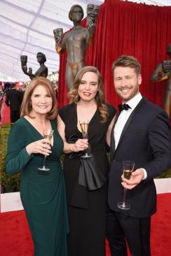 Producer Kathy Connell, Vitalie Taittinger and Actor Glen Powell SAG Awards 4Chion Lifestyle