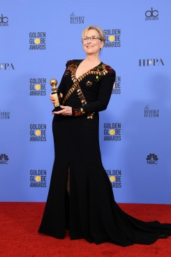 "Meryl Streep poses backstage in the press room with the Cecil B. DeMille Award for her ""outstanding contribution to the entertainment field"" at the 74th Annual Golden Globe Awards at the Beverly Hilton in Beverly Hills, CA on January 8, 2017."