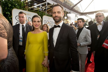 "Nominated for BEST PERFORMANCE BY AN ACTRESS IN A MOTION PICTURE – DRAMA for her role in ""Jackie,"" actress Natalie Portman attends the 74th Annual Golden Globe Awards with Benjamin Millepied at the Beverly Hilton in Beverly Hills, CA on Sunday, January 8, 2017."