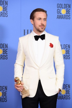 "After winning the category of BEST PERFORMANCE BY AN ACTOR IN A MOTION PICTURE – COMEDY OR MUSICAL for his work in ""La La Land,"" actor Ryan Gosling poses backstage in the press room with his Golden Globe Award at the 74th Annual Golden Globe Awards at the Beverly Hilton in Beverly Hills, CA on Sunday, January 8, 2017."