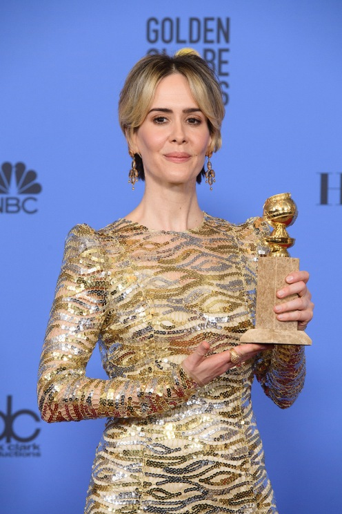 "After winning the category of BEST PERFORMANCE BY AN ACTRESS IN A MINI-SERIES OR MOTION PICTURE MADE FOR TELEVISION for her role in ""The People v. O.J. Simpson: American Crime Story,"" actress Sarah Paulson poses backstage in the press room with her Golden Globe Award at the 74th Annual Golden Globe Awards at the Beverly Hilton in Beverly Hills, CA on Sunday, January 8, 2017."