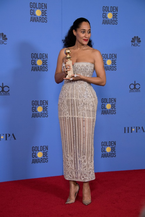 "After winning the category of BEST PERFORMANCE BY AN ACTRESS IN A TELEVISION SERIES – COMEDY OR MUSICAL for her role in ""Black-ish,"" actress Tracee Ellis Ross poses backstage in the press room with her Golden Globe Award at the 74th Annual Golden Globe Awards at the Beverly Hilton in Beverly Hills, CA on Sunday, January 8, 2017."
