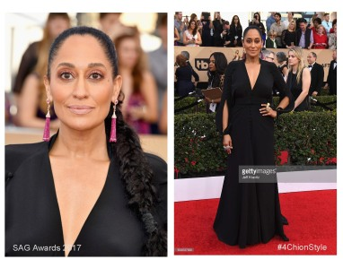 Tracee Ellis Ross Narcisa Pheres ruby tassel earrings, Lydia Courteille diamond rings, a Yvel pearl ring, and a L'Dezen by Payal Shah 4Chion Lifestyle