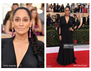 Tracee Ellis Ross Ulyana Sergeenko dress, Christian Louboutin shoes, Narcisa Pheres earrings, and rings by Lydia Courteille, Yvel, and L'Dezen by Payal Shah