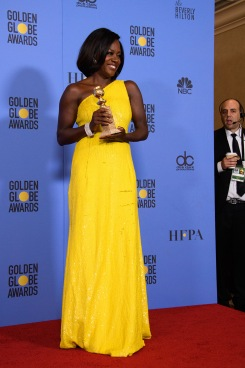 "After winning the category of BEST PERFORMANCE BY AN ACTRESS IN A SUPPORTING ROLE IN A MOTION PICTURE for her work in ""Fences,"" actress Viola Davis poses backstage in the press room with her Golden Globe Award at the 74th Annual Golden Globe Awards at the Beverly Hilton in Beverly Hills, CA on Sunday, January 8, 2017."