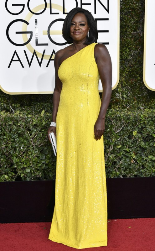 Viola Davis Golden Globes Red Carpet