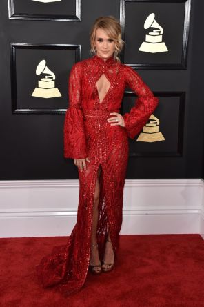 Carrie Underwood Grammys wearing Yas Couture Elie Madi