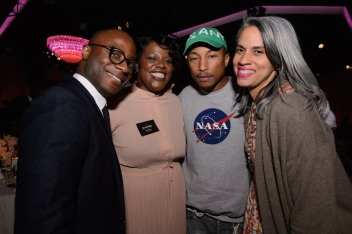 The Oscar® Nominees Luncheon in Beverly Hills Monday, February 6, 2017. The 89th Oscars® will air on Sunday, February 26, live on ABC. Pictured (left to right): Barry Jenkins, Joi McMillon, Pharrell Williams and Mimi Valdes.