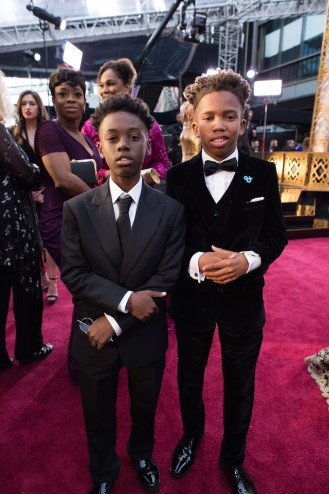 "Alex Hibbert and Jaden Piner from the Oscar® nominated film ""Moonlight"" arrive on the red carpet of The 89th Oscars® at the Dolby® Theatre in Hollywood, CA on Sunday, February 26, 2017."