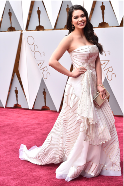 Auli'i Cravalho Oscars® red carpet 4chion lifestyle