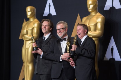 "Byron Howard, Rich Moore and Clark Spencer pose backstage with the Oscar® for Best animated feature film of the year for outstanding work on the ""Zootopia"" during the live ABC Telecast of The 89th Oscars® at the Dolby® Theatre in Hollywood, CA on Sunday, February 26, 2017."
