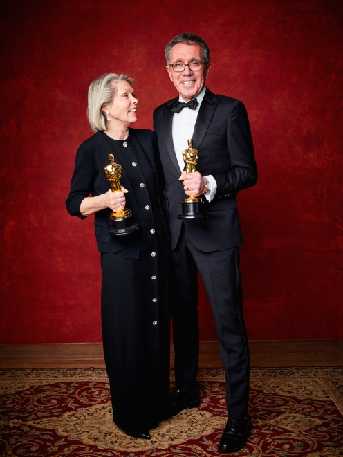 "David Wasco for Production Design and Sandy Reynolds-Wasco for Set Decoration accept the Oscar® for Achievement in production design, for work on ""La La Land"" during the live ABC Telecast of The 89th Oscars® at the Dolby® Theatre in Hollywood, CA on Sunday, February 26, 2016."