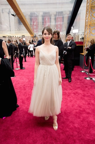 Felicity Jones arrives on the red carpet of The 89th Oscars® at the Dolby® Theatre in Hollywood, CA on Sunday, February 26, 2017.