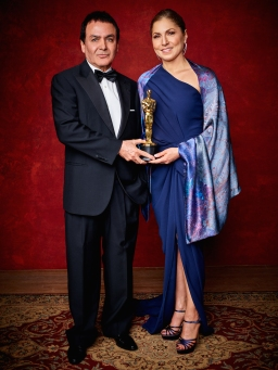 "Firouz Naderi and Anousheh Ansari accepting for Ashgar Farhadi with the Oscar® for Best foreign language film of the year, for work on ""The Salesman"" from Iran during the live ABC Telecast of The 89th Oscars® at the Dolby® Theatre in Hollywood, CA on Sunday, February 26, 2016."