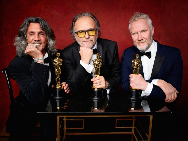 "Giorgio Gregorini, Alessandro Bertolazzi and Christopher Nelsoni poses backstage with the Oscar® for Achievement in makeup, for work on ""Suicide Squad"" during the live ABC Telecast of The 89th Oscars® at the Dolby® Theatre in Hollywood, CA on Sunday, February 26, 2016."