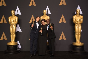 "Jeremy Kleiner, Adele Romanski and Barry Jenkins pose backstage with the Oscar® for Best motion picture of the year, for work on ""Moonlight"" during the live ABC Telecast of The 89th Oscars® at the Dolby® Theatre in Hollywood, CA on Sunday, February 26, 2017."