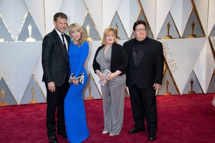 Joel Harlow (left) and Richard Alonzo (right), Oscar® nominees, arrive with guests on the red carpet of The 89th Oscars® at the Dolby® Theatre in Hollywood, CA on Sunday, February 26, 2017.