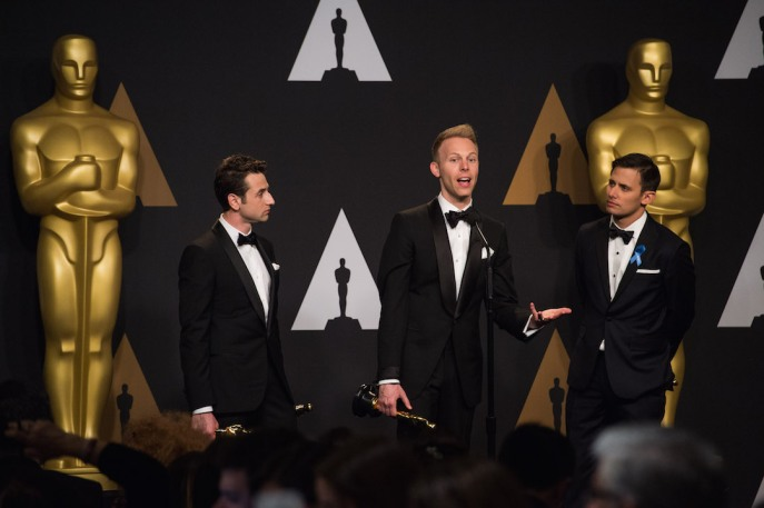 "Winning the category Achievement in music written for motion pictures (Original song) for ""City of Stars"" from ""La La Land"", Justin Hurwitz, Justin Paul and Benj Pasek speak with the press during the live ABC Telecast of The 89th Oscars® at the Dolby® Theatre in Hollywood, CA on Sunday, February 26, 2017."