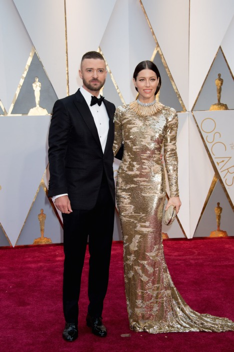 Oscar®-nominee Justin Timberlake and Jessica Biel arrive at The 89th Oscars® at the Dolby® Theatre in Hollywood, CA on Sunday, February 26, 2017.