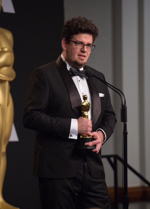 "Kristof Deák poses backstage with the Oscar® for Best Live Action short film, for work on ""Sing"" during the live ABC Telecast of The 89th Oscars® at the Dolby® Theatre in Hollywood, CA on Sunday, February 26, 2017."