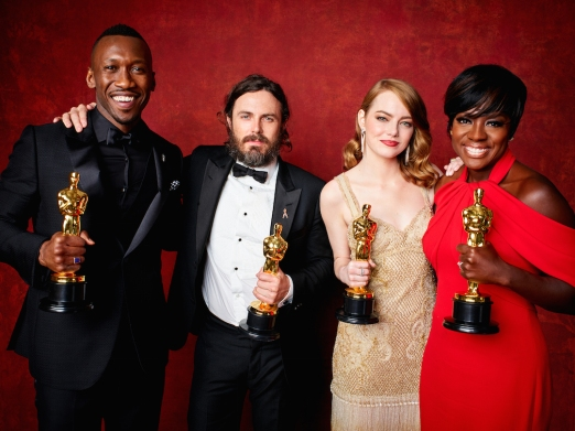 Mahershala Ali, Casey Affleck, Emma Stone and Viola Davis backstage during the live ABC Telecast of The 89th Oscars® at the Dolby® Theatre in Hollywood, CA on Sunday, February 26, 2016.