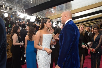 Priyanka Chopra talks with Dwayne Johnson on the red carpet of The 89th Oscars® at the Dolby® Theatre in Hollywood, CA on Sunday, February 26, 2017.