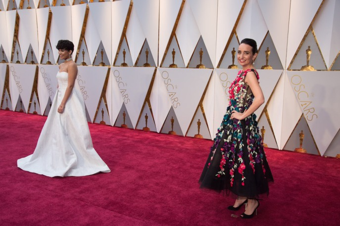 Oscars® nominee Raphaela Neihausen (R) arrives on the red carpet at The 89th Oscars® at the Dolby® Theatre in Hollywood, CA on Sunday, February 26, 2017.